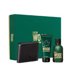 Dsquared2 Green Wood Pour Homme 100ml Eau De Toilette + Gel de duş 100ml + portofel set